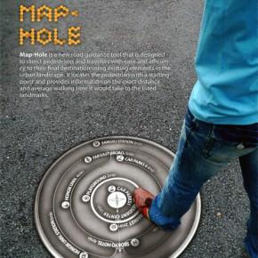 Map Hole: señalización en el piso, en las alcantarillas