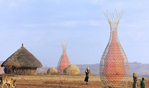 WarkaWater: una cesta de gran escala que recolecta agua para beber