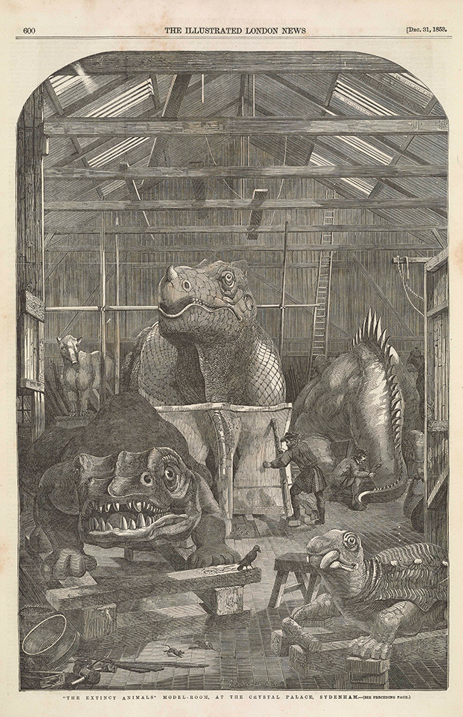 7 Benjamin Waterhouse Hawkins at work on dinosaur models, The Illustrated London News, December 31, 1853, Courtesy Princeton University Library.