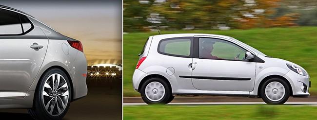 Los modelos de la marca KIA llevan la tapa del tanque en el lado del conductor. Algunos modelos del Renault Twingo la llevan del lado del pasajero.