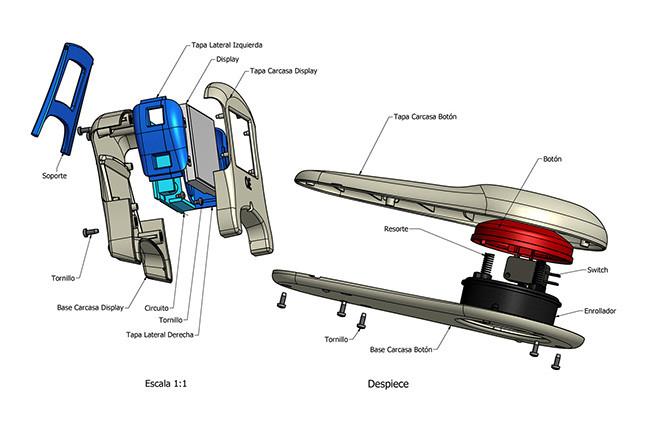 Plano de ensamble mostrando los distintos componentes.