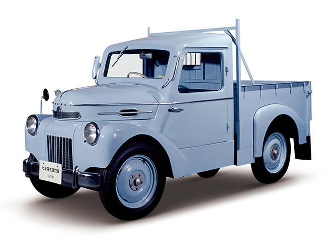 Tama Truck, 1947. Los Vehículos Tama, sedan y camión de carga, fueron lanzados en las versiones de gasolina y eléctrico al mismo tiempo.