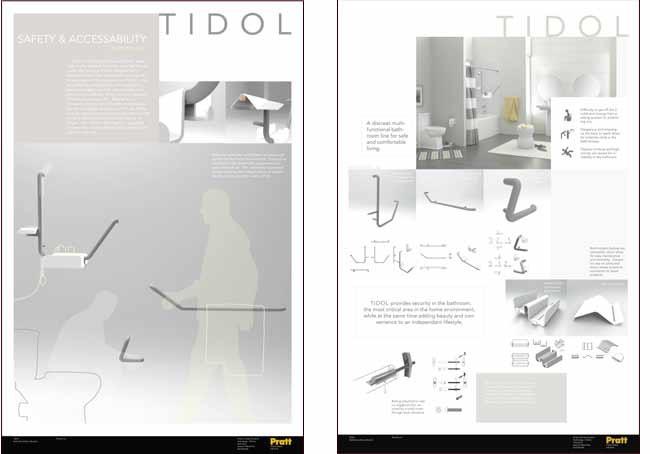 El proyecto de Phoenix Lai llamodo Tidol, se trata de una línea para baños discreta y segura dirigida a la población adulta. Sutilmente estas piezas comparten una doble función.
