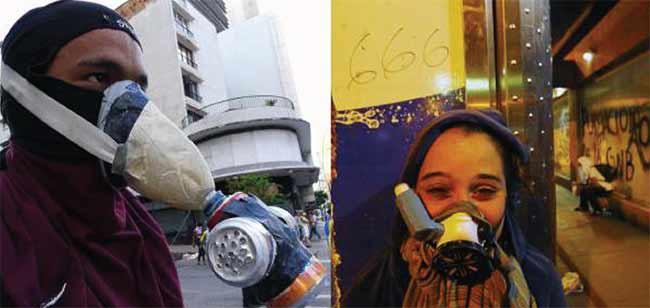 Máscara improvisada (DIY) hecha por manifestante, en las protestas de 2014 en Caracas, Venezuela. [foto: Andrés Kerese]