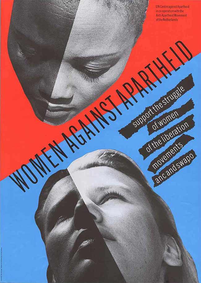 Cartel contra el apartheid del colectivo holandés Wild Plakken, 1984.