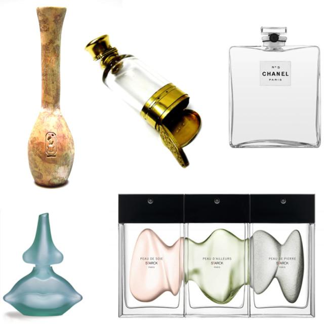 """1. Botella del perfume de la reina de Egipto, 1.500 ac. (foto: Ägyptisches Museum, Universität Bonn Egyptian Museum, University of Bonn); 2. Cápsula para perfume de la época Victoriana; 3. """"Chanel N°5"""" 1921; 4."""" Nose & Lips"""" Perfume diseñada por Salvador Dalí en 1983; 5. """"The Fragances"""", la colección de perfumes diseñada por Philippe Starck, 2016."""